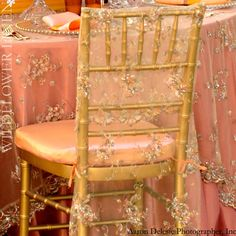 Willdflower Linen,   sheer Empress Lace Butter chair sleeves with Shimmer Sherbet cushion covers