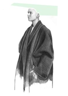 WEEK 7 EDUARDO -  Jonathan Mess and Edoardo de Falchi; USA; 2015;Graphite Pencil, Gouache.  Simple use of colour, direction and shape makes the illustration effective. The shading in the garment leads the eye up and down the work. Great depth is also created to emphasise the drape of the garment.