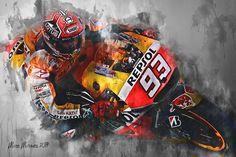 Moto Ducati, Moto Bike, Marc Marquez, Canvas Wall Art, Wall Art Prints, Ducati 1199 Panigale, Speed Art, Marvel Drawings, Honda S
