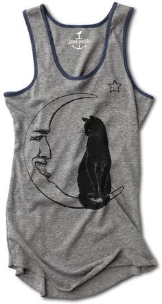 b6d86cff1823e MOON CAT shirt tank top womens witch magic moonlight starry night S M L XL  skip n whistle