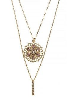Gold Filigree Crystal Layered Pendant Necklace