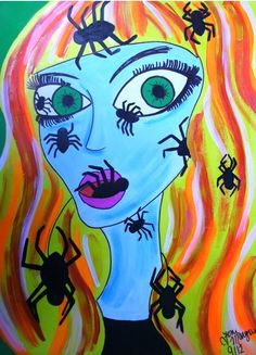 Spider Horror Art Girl with Spiders Art 9x12 In by ToniTiger415