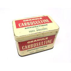 French Medicine Tin Carbosulfine Drug Box Beige Red Green Pill Tin Box Metallic Box Medical Collection Prescription Drug Collectible