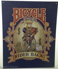 Retro Nostalgic Bicycle Rider Back Joker Playing Card Metal Sign Joker Playing Card, Bicycle Playing Cards, Jokers, Metal Signs, Decks, Holiday Gifts, Printable, Retro, Beauty