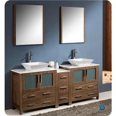 Fresca | Torino 72 Inch Walnut Brown Modern Double Sink Bathroom Vanity with Side Cabinet and Vessel Sinks | Home Depot Canada