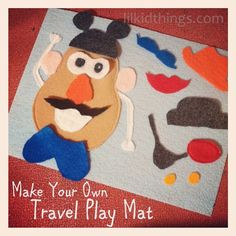 Check out this easy DIY Mr. Potato Head play mat and add it to a quiet book or use on it's own for quiet play in the car during road trips with the kids! 3 Year Old Activities, Quiet Time Activities, Kids Learning Activities, Travel Activities, Toddler Activities, Preschool Activities, Toddler Toys, Airplane Activities, Family Activities