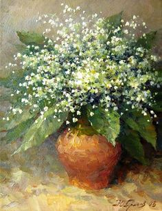 Painting by Yuri Grachev, Russian, contemporary. . . the Celts believed that the lily of the valley flower was lucky. During the Middle Ages the month of May was the month of betrothal and lily of the valley was placed on the door of the loved one. I adore this flower as well as this painting!