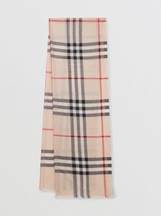 BURBERRY Lightweight Check Wool and Silk Scarf. #burberry