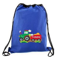 Personalised Blue Swim/Kit Bag - Tractor