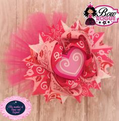 Valentine's Day Stacked Boutique Bow. by BowRogue on Etsy