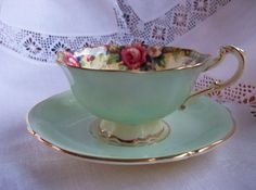 1930s Paragon teacup and saucer Tapestry by YorkshireTeaCupShop