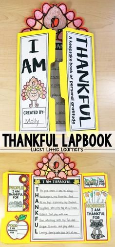 I Am Thankful Lapbooks are a great way to focus on gratitude and thankfulness with your students during the month of November. 1st grade and 2nd grade classrooms will find this hands on activity a perfect keepsake for their students. This lap book includes a thankful acrostic poem along with a variety of flip flaps that focus on things kids are thankful for. The turkey art project on the top if the perfect addition to the Thanksgiving lapbook!