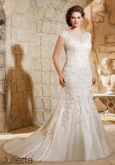 Julietta by Mori Lee 3188 Cap Sleeve Lace Fit & Flare Plus Size Wedding Dress