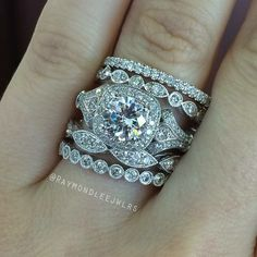 love the stacked engagement ring and wedding band - Stacked Wedding Rings