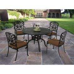 Hampton 5 Piece Dining Set by Oakland Living. $1312.33. Easy to Follow Assembly Instructions and Product Care Information. Hardened Powder Coat Finish in Antique Bronze for Years of Beauty. Fade, Chip and Crack Resistant. Rust Free Aluminum Construction. Galvanized Assembly Hardware. 7203-7201-9-D54-AB This 48 inch five piece dining set is the prefect piece for any outdoor dinner setting. Just the right size for any backyard or patio. Constructed of rust free a...