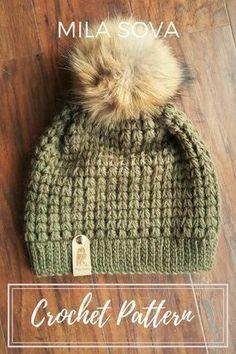 slouchy beanie hat crochet pattern, DIY Fall fashion Mila Soav #CrochetBeanie