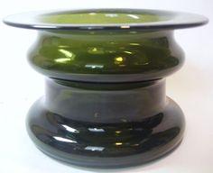 Timo Sarpaneva TS Sculptural Green Art Glass Vase-1960s Iittala Finnish Finland #Iittala
