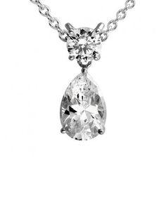 9aea95a9396496 Diamonfire Silver Cubic Zirconia Pear Round Pendant