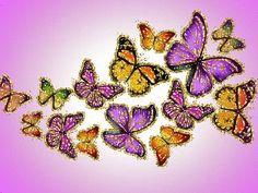 GIFS HERMOSOS: FLRES Y MARIPOSAS ENCONTRADAS EN LA WEB Purple Butterfly Wallpaper, Heart Gif, One Image, Black Wallpaper, Life Is Like, Black Art, Beautiful Flowers, Butterflies, Glitter