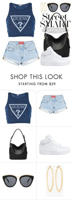 """Blue 4042"" by boxthoughts ❤ liked on Polyvore featuring Topshop, MKF Collection, NIKE, Le Specs and Chico's"