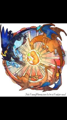 Mega Charizard Pokemon tattoo design