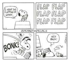 First Appearance: April 14th, 1972 #peanutsspecials #ps #pnts #schulz #snoopy #woodstock #hear #flapping #wings #flapflapflapflapflapflap #bonk #back www.peanutsspecials.com