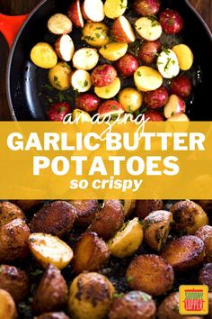 Garlicky, buttery, and oh-so-crispy, our Garlic Butter Potatoes make a delicious side dish for every meal from beef to chicken. Butter Potatoes, Best Side Dishes, Side Dish Recipes, Creamy Pasta Bake, Healthy Vegetables, Side Salad, Baked Beans, Vegetable Side Dishes