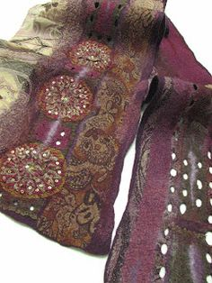#Felted #Scarves - ANDREA GRAHAM fabulous design & colours... http://www.lovelysilks.com