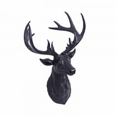 Wall Mounted Black Finish Resin Stag's or Deer Head