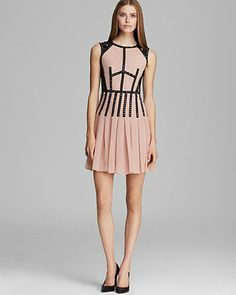 Rebecca Taylor Dress - Sleeveless Lace Inset Studded