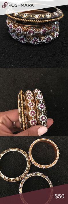Three decorative bangles hand made Hand made from Thai Land, made of wood and metal, perfect condition, vintage bangles, can measure for size if needed Jewelry Bracelets