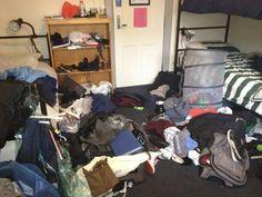 Messy college dorm room
