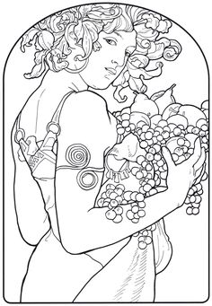 Le Fruits by Alphonse Mucha. Part of the Alphonse Mucha coloring book at Pomegranate.com #freecolor
