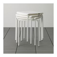 15. IKEA - VÄDDÖ, Stool, outdoor, , The stool is durable and easy to care for since it is made of powder-coated galvanized steel and plastic.You can have several stools on hand without taking up more room, since they are stackable.The stool will look newer and last longer, as the plastic is both fade resistant and UV stabilized to prevent cracking and drying out.Easy to keep clean – just wipe with a damp cloth.