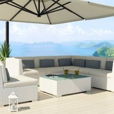 Uduka Outdoor Sectional Modern Patio Furniture White Wicker Sofa Set Luxor Turquoise All Weather Couch