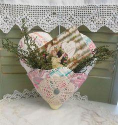 Primitive HEART Pillow Handmade from ANTIQUE Quilt - Vintage Valentine Postcard