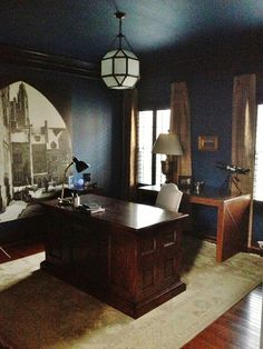 "Pure Style Home: A Man's Surprise Office: Before & After - ""Morris"" Lantern by Visual Comfort and the photo is from his alma mater blown up to 7 feet."