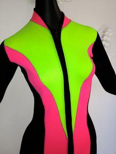 1980s NEON 80s Neoprene Wetsuit Vintage Swimwear Wet Suit Scuba Swimsuit Fluorescent Pink Green Black Small Henderson BodyGlove Body Glove. $199.00, via Etsy.