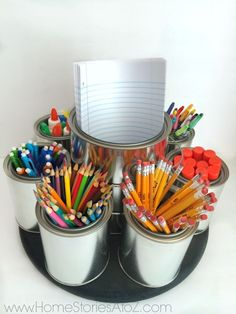 Love the homework station lazy susan for the kitchen table!! 7 Helpful Back to School Organization Ideas | Porch.com | Windermere Real Estate