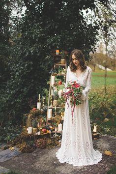 1970s Boho Bohemian Bride Bridal Gown Dress Sleeves Francis Bridal Magical Autumn Outdoorsy Woodland Wedding Ideas http://kirstymackenziephotography.co.uk/