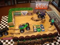 We began by covering the plywood board with checkered contact paper. The cakes were white almond sour cream, a sheet cake and a 9 x 5 loaf for the wal Monster Truck Birthday Cake, Monster Truck Party, Monster Trucks, Monster Truck Cakes, Monster Jam Cake, Cool Birthday Cakes, Birthday Fun, Birthday Ideas, Homemade Birthday