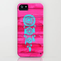 Hipster Teal Dreamcatcher Girly Pink Fuchsia Wood  iPhone Case