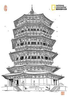 我的首页 微博-随时随地发现新鲜事 Charcoal Drawing, Chinese Culture, National Geographic, Adult Coloring, Paint Colors, Watercolor Paintings, Architecture, Drawings, Building