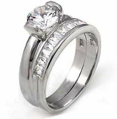 Sterling Silver Wedding Ring Set with Round Cubic Zirconia in Tension Setting Crazy2Shop. $19.50. Width of Set: 5.5mm. Wedding Band: Four 2mm Stones. Engagement Ring: Center Stone 6.5mm with Six 2mm Stones on Top. Finish: Rhodium. Metal: Sterling Silver