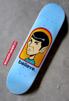 A pretty ingenious parody of the classic Alien Workshop graphic by Scot Thomson and his Skate Deck Tapestry brand for today's Featured Deck. You can get this, or a ton of other eclectic skateboard graphics by Scot at www.BoardPusher.com/shop/SDT. Star Trek Spock