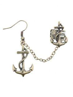 Fad Treasures Gold Anchors Ear Cuff #Nautical #Jewellery