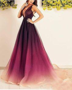 Gradient purple Prom Dresses,A-line prom dress,long prom Dress,formal prom dress,new arrive evening dress Ombre Prom Dresses, V Neck Prom Dresses, Tulle Prom Dress, Cheap Prom Dresses, Quinceanera Dresses, Homecoming Dresses, Strapless Dress Formal, Formal Dresses, Dress Long