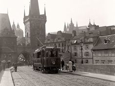 A tram crosses Prague's famous Charles Bridge (Karlův most) in this photo by Jan Srp from Not something you will see today. Old Pictures, Old Photos, Prague Czech Republic, Historical Architecture, Historical Photos, Beautiful Places, Street View, Around The Worlds, Instagram