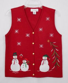 Croft Barrow Christmas Ugly Sweater Vest Size PM Red Snowmen Tacky Women - This button-front Christmas sweater vest features appliqued snowmen with front embroidered embellishment. Diy Ugly Christmas Sweater, Ugly Sweater, Star Events, Liz Claiborne, Tutu, Villa, Mesh, Pink, Clothes