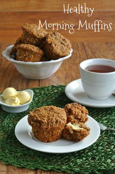 Healthy Morning Muffins have multiple grains, oats, nuts and fruit. Served with a nice big cup of Bigelow Tea will also keep you warm on these cold days.